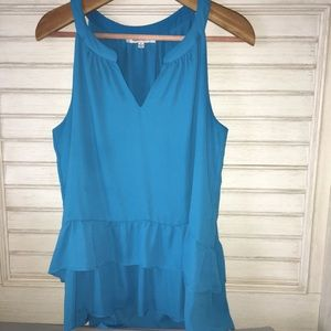 Rose + olive hi low tank top turquoise color large